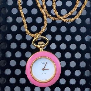 Gold Pocket Watch Necklace Pendant Clock Rope ⏱
